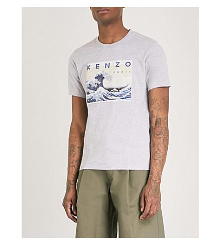 KENZO Logo-print cotton-jersey T-shirt (Pearl+grey