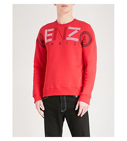 algodón jersey estampado de con KENZO de Sudadera Rojo logo de g1wtqFx