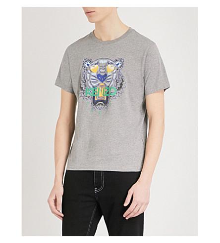 KENZO Tiger cotton-jersey T-shirt (Dove+grey