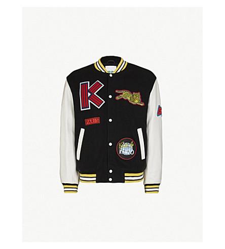 KENZO 徽标补丁羊毛混纺和皮革校队夹克 (黑色