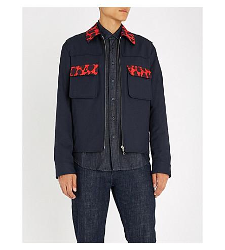 KENZO 打印修剪棉和羊毛混纺夹克 (海军 + 蓝色