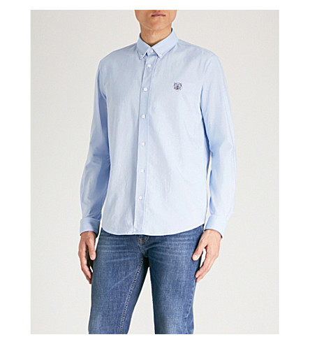 KENZO Logo-embroidered casual-fit cotton shirt (Light+blue