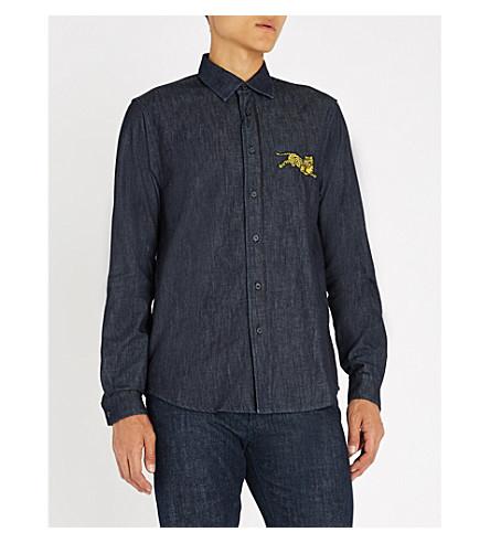 KENZO Tiger-detail denim shirt (Navy+blue