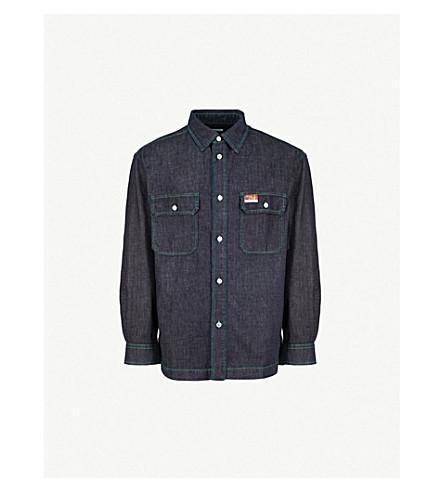 KENZO 徽标补丁牛仔衬衫 (海军 + 蓝色