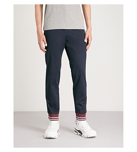 KENZO Striped-cuff stretch-cotton trousers (Navy