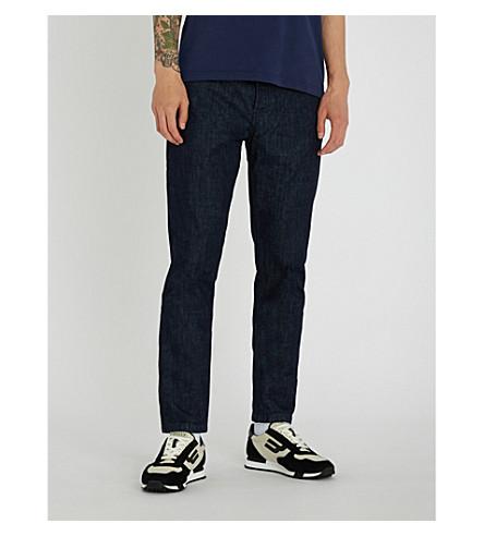 KENZO标志口袋苗条适合锥形牛仔裤 (海军 + 蓝色