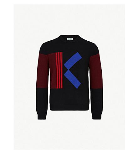 KENZO K logo wool-blend knit jumper (Black