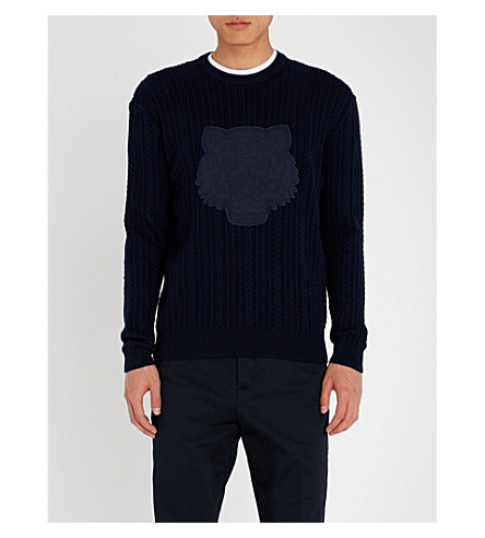 KENZO Tiger-embroidered wool-blend jumper (Navy+blue