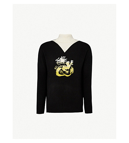 KENZO Dragon-intarsia wool turtleneck jumper (Black