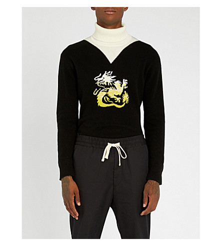 KENZO Dragon-intarsia wool turtleneck jumper (Black