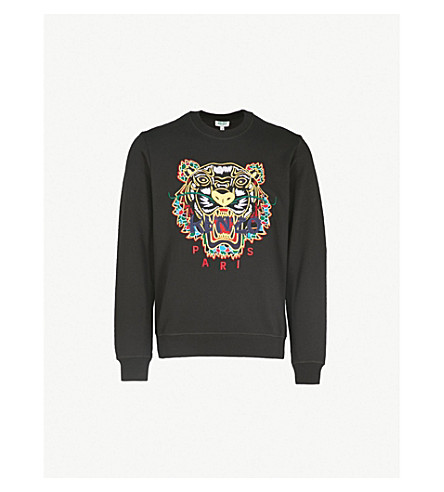 KENZO Tiger-embroidered cotton-jersey sweatshirt (Black
