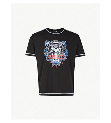 KENZO Tiger-print cotton-jersey T-shirt (Black