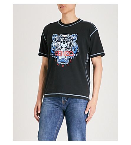 tigre jersey KENZO con de de de negra algodón estampado Camiseta 5S08UnW