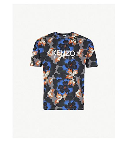 KENZO 花印平纹针织棉 T 恤 (海军
