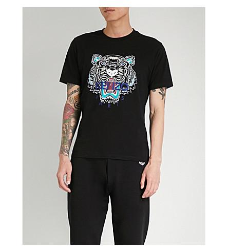 KENZO 虎印平纹针织棉 T 恤 (黑色
