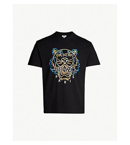 KENZO Neon tiger-print cotton-jersey T-shirt (Black