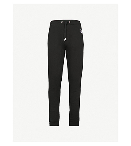 KENZO Tiger-embroidered cotton-jersey jogging bottoms (Black