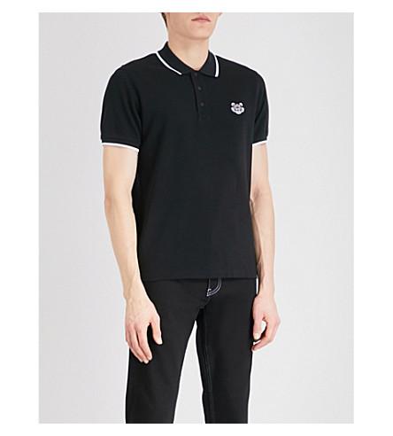 KENZO Logo-embroidered slim-fit cotton-piqué polo shirt (Black