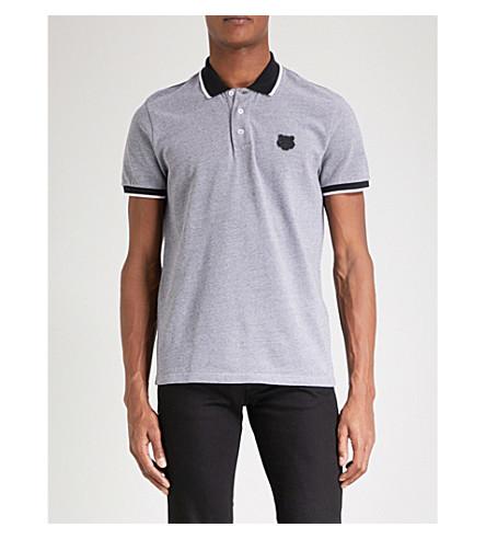 KENZO Tiger-badge cotton-piqué polo shirt (Black