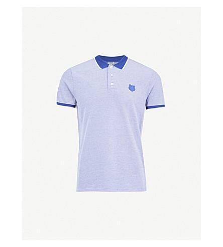 KENZO Tiger-badge cotton-piqué polo shirt (Royal+blue