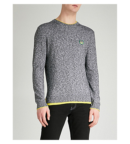 KENZO Embroidered logo cotton-blend jumper (Anthracite