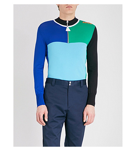 KENZO Colour-blocked knitted jumper (Turquoise