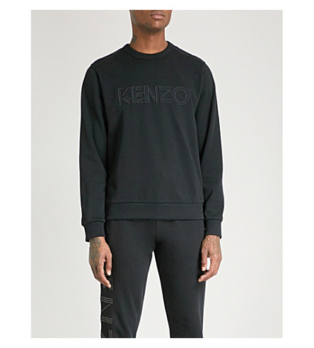 KENZO Logo-embroidered cotton-jersey sweatshirt (Black