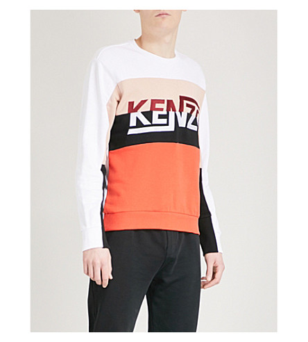 KENZO Hyper Kenzo Colour block cotton-jersey sweatshirt (White