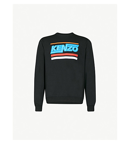 KENZO Logo-embroidered cotton-jersey sweatshirt (Black