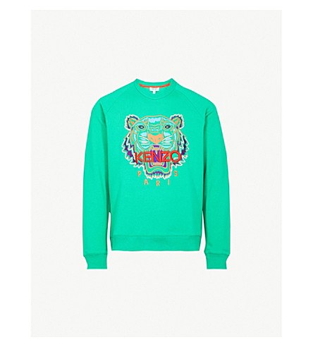 KENZO Tiger-motif cotton-jersey sweatshirt (Grass+green