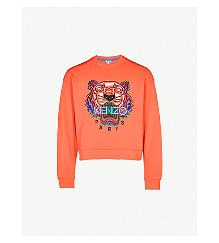 KENZO Tiger cotton-jersey sweatshirt (Medium+red