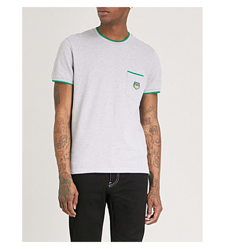 KENZO Tiger-embroidered cotton-piqué T-shirt (Pale+grey
