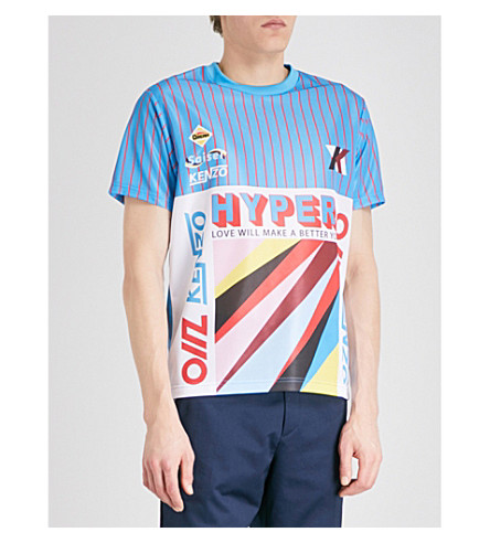 KENZO Striped woven T-shirt (Turquoise