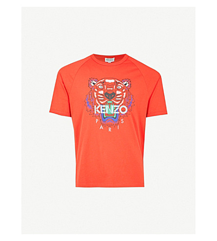 KENZO Tiger-print cotton-jersey T-shirt (Medium red
