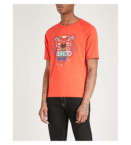 KENZO Tiger-print cotton-jersey T-shirt (Medium+red