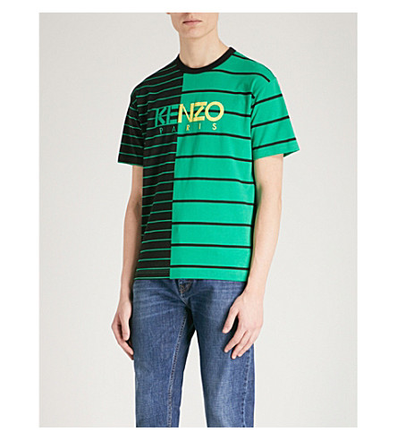 KENZO Striped cotton-jersey T-shirt (Grass+green