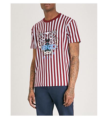 KENZO Striped logo-print cotton-jersey T-shirt (Bordeux