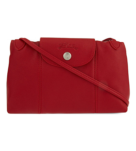 LONGCHAMP Le Pliage Cuir cross-body bag (Cherry