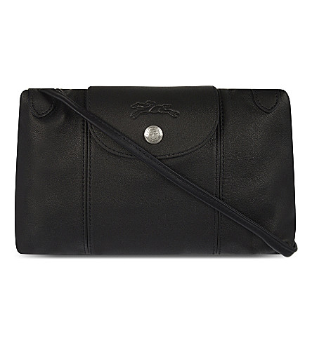 LONGCHAMP Le Pliage Cuir leather cross-body bag (Black