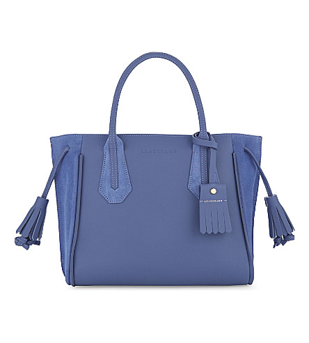 LONGCHAMP Pénélope Fantaisie leather tote (Blue+mist