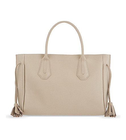 LONGCHAMP Pénélope medium leather tote (Greige