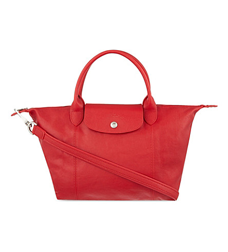 LONGCHAMP Le Pliage Cuir small leather handbag (Cherry