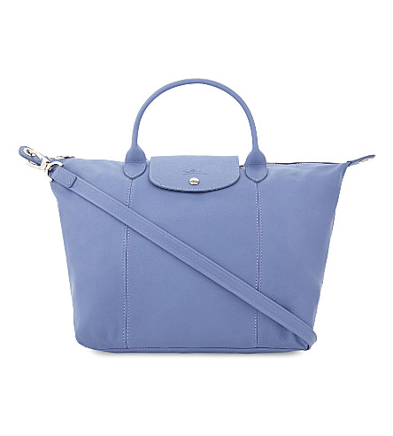 LONGCHAMP Le Pliage Cuir medium leather shopper (Blue+mist