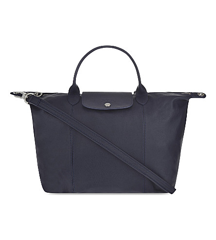 LONGCHAMP Le Pliage Cuir medium leather shopper (Navy