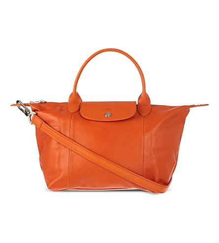 LONGCHAMP Le Pliage Cuir medium leather handbag (Orange