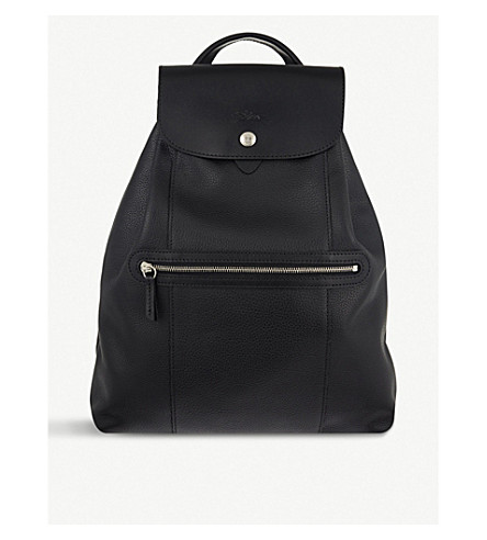 LONGCHAMP Le Foulonne leather backpack (Black