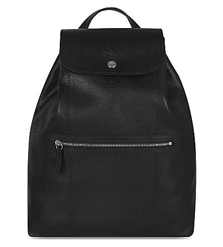 LONGCHAMP Le Foulonné leather backpack (Black