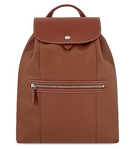 LONGCHAMP Le Foulonné leather backpack (Cognac