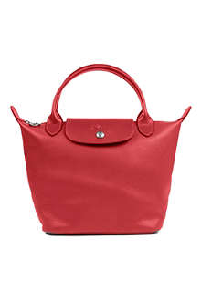 LONGCHAMP Veau Foulonne leather handbag in vermill in argile
