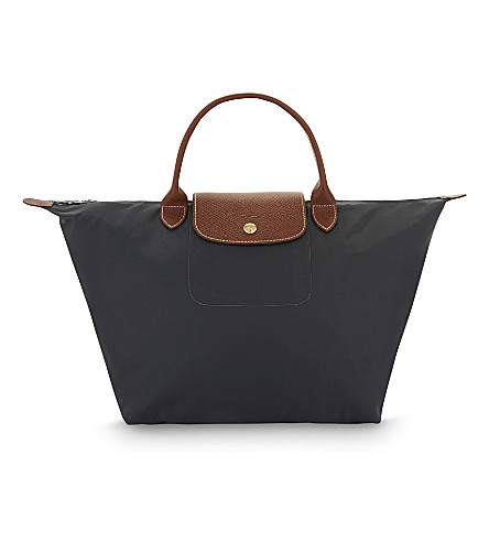 LONGCHAMP Le Pliage medium handbag in fusil (Gun+metal
